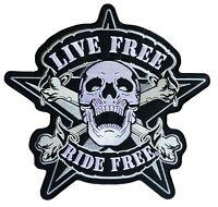 Backpatch écusson Live Free Ride grand patche dorsal dos grande taille patch