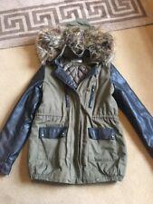 Fashion parka jacket Khaki With Leatherette Arms And Pockets