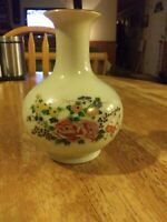 Vintage Enesco 1979 Vase Tan Crackle w/Pink Purple Yellow Flower Gold Trim 6""