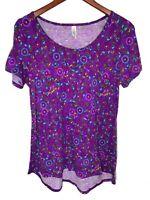 Lularoe Womens Medium Flower Purple Classic T Shirt Tee Top