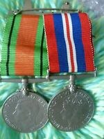 WW2 The Defence Medal and War BROOCH Medals King George VI- ANTIQUE- Full Size