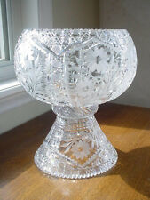 Gorgeous Vintage American Brilliant Cut Glass Punch Bowl and Pedestal ABP