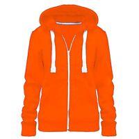Ladies Womens Hoodie Zip Plain Sweatshirt Jacket Hooded Fleece Coat Hoodys Top