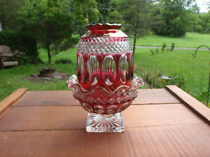 Vintage Westmoreland Wakefield Thumbprint Ruby Red Flashed Glass Fairy Lamp