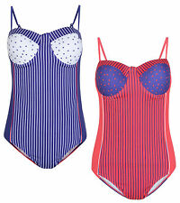 LADIES SWIMMING COSTUME SPOT & STRIPE SWIMSUIT WOMENS SWIMWEAR UK 10-18 BNWT