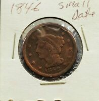 1846 Small Date 1c Liberty Head Large Cent Penny US Copper Choice VG / FINE