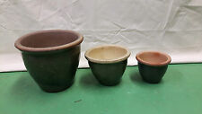 Stylish Quality Ceramic Outdoor Plant Pots - Set of 3 Frost Proof Green