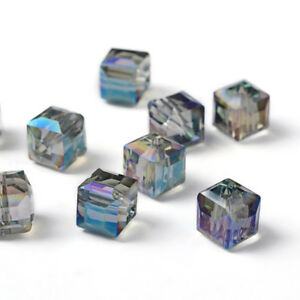 10pcs Electorplated Glass Beads Rainbow Plated Faceted Cube Medium Turquoise