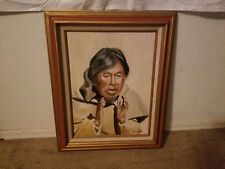 Fred McGrath Painting Older Native American Man Oil On Canvas Signed And Framed