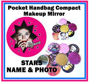 PERSONALISED - HANDBAG / POCKET MAKE-UP COMPACT MIRROR - PHOTO & NAME - GIFT
