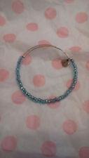 Alex & Ani Blue Shimmering Sea Beads Beaded Silver Bangle Bracelet Rare