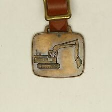 VTG John Deere Excavator Heavy Brass Pocket Watch Fob w/ Brown Leather Strap