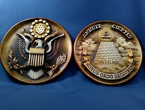 "3D Wood carved plates Woodcarving art wall decor "" The Great Seal of the USA """