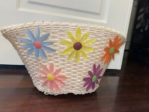 Vintage Beige Woven Bicycle Front Basket w/ Plastic Flowers and Original Straps