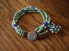 Turquoise Picasso Blue & Silver 4 Strand Handmade Beaded Leather Wrap Bracelet