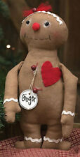 "Ginger GingerBread Doll  Primitive Country Farmhouse Valentines Day 11.5"" New"
