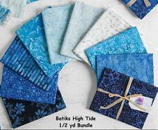 Boundless Batik High Tide Ocean Blue Half Yard Bundle of 10  5 YARDS Fabric NIP