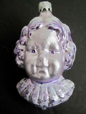 Vintage Cherub Angel Head Blown Glass Christmas Ornament West Germany