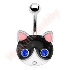 Bar Navel Ring Body Piercing Jewellery Gem Eye Pussy Cat Belly Button
