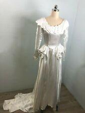 XS Vintage 40s White Rayon Bridal Satin Long Sleeve Peplum Wedding Dress