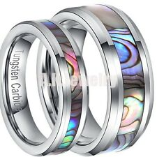 Couple Abalone Shell Inlay Mens Womens Tungsten Carbide Wedding Band Rings Gift