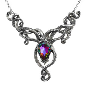 ALCHEMY KRAKEN NECKLACE SQUID OCTOPUS TENTACLES Swarovski Crystal Gothic Pendant