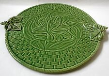 Vintage Bordallo Pinheiro Serving Cheese Dessert Platter Floral Green PORTUGAL