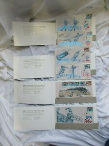 SIGNED USA 1992 Olympic Winter Games Commemorative Souvenir Stamps Set of 6 #ed