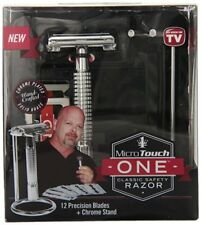 Micro Touch One Classic Safety Razor 12 Blades + Stand Mens Razor Shaver New