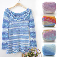50g Gradient Colour Cotton Yarn 1Ply Hand Knitting Crochet Lace Thread DIY Craft