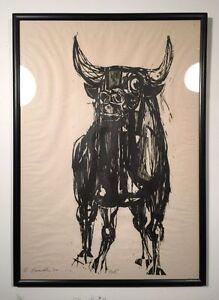 "Large EDMOND CASARELLA Woodblock Print ""Bull"" Signed Framed 1954. POWERFUL!"