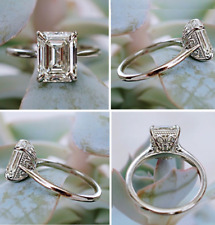 14k White Gold 3.50 ct Emerald Diamond Solitaire Engagement Ring !!