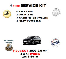 FOR PEUGEOT 3008 2.0HDi HYBRID 4X4 2011-2016 FILTERS SERVICE KIT WITH GLOW PLUGS