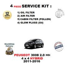 Pour peugeot 3008 2.0HDi hybrid 4X4 2011-2016 filtres de service kit avec bougies de préchauffage