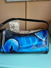 Radley Small Black Leather Handbag Hand Painted SILHOUETTE Wolf Howling  2 moons