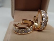 Ladies 14ct 9ct Yellow Gold GF Lab Created diamond 20mm Hoop Huggies Earrings