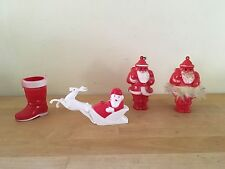 Vintage Rosbro Hard Plastic Santa Claus Candy Container Lot - 3 Santa's & Boot