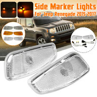 Pair Car Front LED Lights Sides Marker Cover Lamps For Jeep Renegade 2015 - 2017