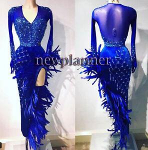L1738 Feather Ballroom swing Rumba Latin/Rhythm Samba dance dress US 8 uk 10
