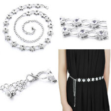 Ladies Waist Chain Fashion Belt Silver Flower Design Diamante Dress Party Wear
