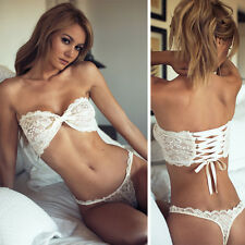 2pcs Women Sexy Lace Strapless Lingerie Babydoll Underwear Bra+G-string Briefs