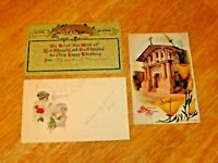 Vintage Lot (3) 1912 Christmas Post Cards - Antique Postcards