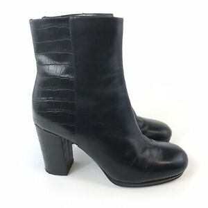 Clarks Narrative UK4.5 D Black Croc Leather Ankle Zip Up Heeled Booties Boots