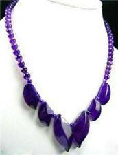 "2019 Pretty Amethyst Gemstones Beads Pendants Necklace 18"" AAA"