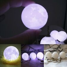 Novelty 3D Printing Moon Shape Lamp Night Light LED Keychain High Technical Gift