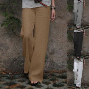 Womens Linen Cotton Elastic Waist Straight Leg Pants Summer Casual Long Trousers
