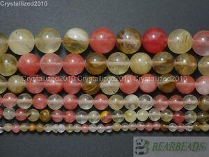 """Natural Watermelon Quartz Tourmaline Gemstone Round Beads 4mm 6mm 8mm 10m 15.5"""""""