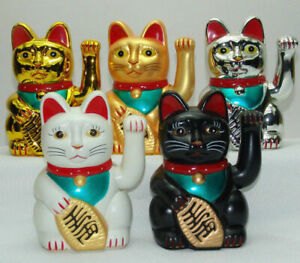 "5""6""7""10"" Lucky Cat MANEKI NEKO Beckoning Waving Arm Wealth Prosperity Feng Shui"