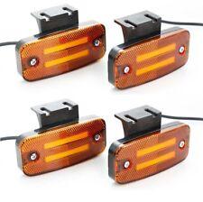 24V Amber Neon LED Side Marker w/ Brackets Lights 4x Lamps Truck Scania MAN DAF