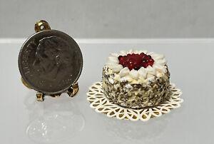 Vintage Artisan PARIS? Fancy Cherry Cake With Nut Sides Dollhouse Miniature 1:12